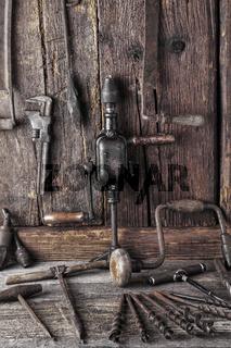Werkstatt mit antiken Werzeugen