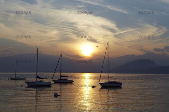Lago Maggiore - Boats at sunset