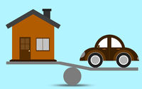 Scale with car and house