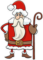 cartoon Santa Claus character with cane on Christmas time