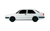 White sedan golf car on white background - Vector