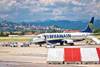 Bergamo Orio Al Serio airport and town of Bergamo view.