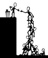 Social Climb Human Ladder Cartoon