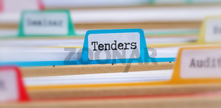 File folders with a tab labeled Tenders