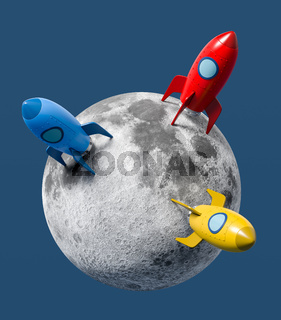 Cartoon Spaceships Landed on the Moon on Blue Background