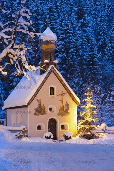 christmas chapel in snow at night