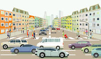 Road traffic with people on the zebra crossing, illustration