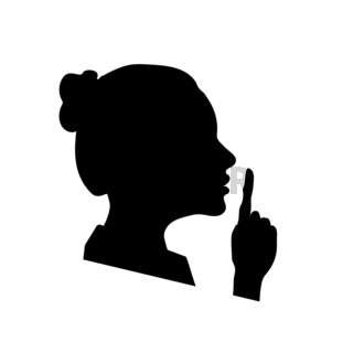 Woman face profile with hand, shhh icon on white, please keep quiet sign