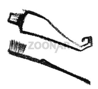 sketched toothbrush and toothpaste