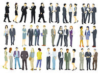 Large group of people stand together illustration