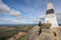 Caucasian woman on Picoto highest point of Monsanto castle with landscape view, in Portugal