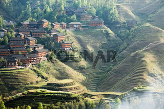 terraced village at dusk