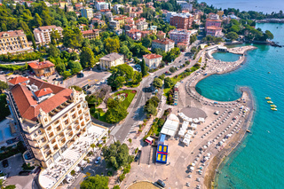 Town of Opatija and Slatina beach and waterfront aerial view