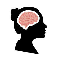 Black detailed woman face profile with pink realistic brain on white