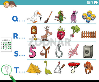 first letter of a word cartoon educational task for children