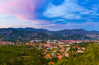 Village in Lovcen Mountains National park at sunset - Montenegro