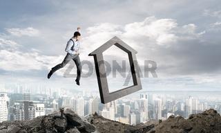 Crashing real estate market concept.