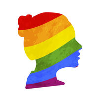 Black detailed realistic girls face profile with LGBT pride flag on white