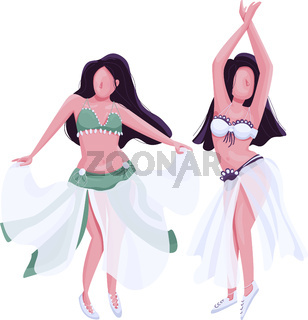 Belly dancers flat color vector faceless character. Exotic bellydance female performers. Two women in traditional oriental costume isolated cartoon illustration for web graphic design and animation