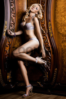 beautiful fashionable woman in interior