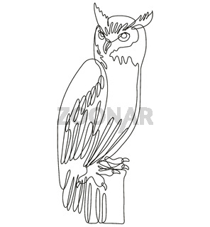 Tiger Owl or Great Horned Owl Perching on Tree Stump Continuous Line Drawing