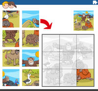 jigsaw puzzle game with funny wild animal characters