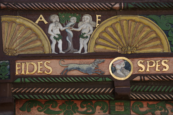 Adam and Eve House, detail of the carvings on the friezes of the gable front, Paderborn, Germany