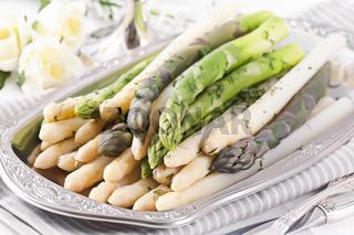 Asparagus on silver tray