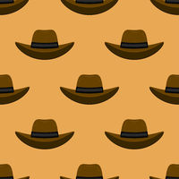 American Hat Icon Isolated on Orange Background. Seamless Pattern