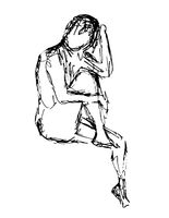 Nude Female Human Figure Sitting One Leg Up Doodle Art Continuous Line Drawing