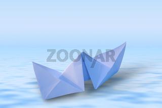 Paper Ship in a render blue sea