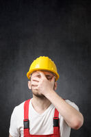 Portrait of a disappointed construction worker