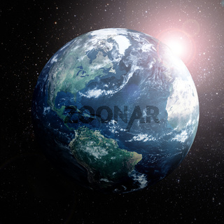 Earth in space showing Europe,Asia and Africa