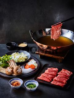 Shabu-shabu served on a table