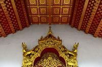 Gilded carvings and ceiling ornaments,, Temple Wat Nong Sikhounmuang, Luang Prabang, Laos