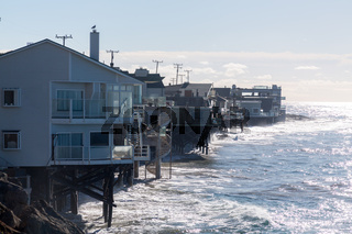 Houses over ocean in Malibu california