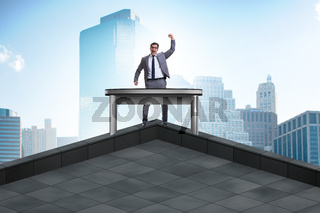 Businessman self isolating on the top