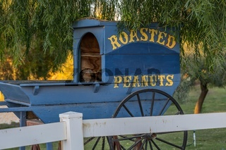 A buggy cart with bluish wheeled carriage in Yuma, Arizona