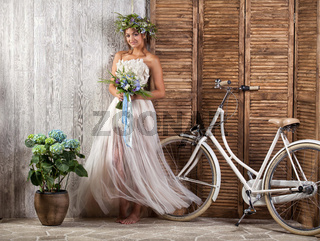 Young Bride On A Bicycle