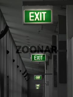 Grüne Exit Schilder
