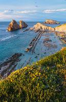 Blossoming Arnia Beach (Spain) Atlantic Ocean evening coastline landscape.