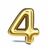 Golden font Number 4 FOUR 3D