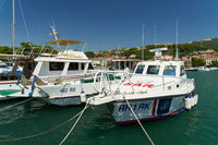 Rescue ship in the port of the town of Rab on the coast of the Adriatic Sea in Croatia