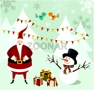 Santa Claus and Snowman Christmas card.