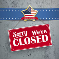 Independence Day Sign Closed Concrete Golden Star