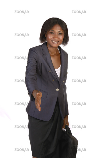 Africam Business Woman  giving hand