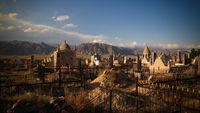 Panorama view to muslim cemetery Semiz Bel at Kochkor in Naryn, Kyrgyzstan