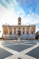 Capitolium Square (Piazza del Campidoglio) in Rome, Italy. Made by Michelangelo, it is home of Rome (Roma) City Hall