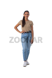 Casual girl standing on white background
