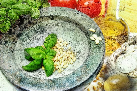 Pesto Zutaten Italian Vintage Style
